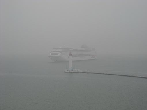 Видимость при заходе в порт не превышала 100 метров.  Фото: сайт port.odessa.ua