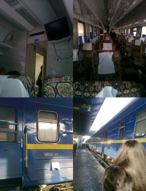 Поезд внутри и снаружи. Коллаж Романа Травина с сайта Facebook