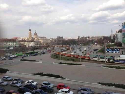 Вереница трамваев растянулась минимум на километр. Фото: Харьковфорум