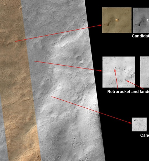 Эксперты разглядели на снимке НАСА парашют от Марс-3, спускаемый аппарат и тепловую защиту (внизу) Фото: НАСА