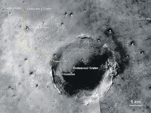 Путь ровера по Марсу. За 10 лет он проехал почти 36 километров. Фото: nasa.gov.