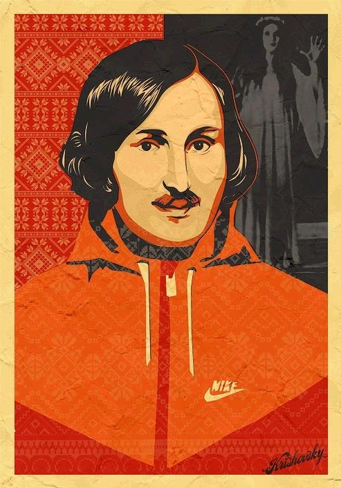 Довольный Николай Гоголь в красной толстовке с хитрецой поглядывает на посетителей галереи. Фото: галерея