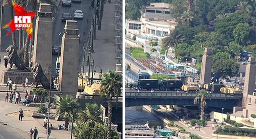 Мост, ведущий к Тахриру, впервые за неделю перекрыт военной бронетехникой. Фото: Александр КОЦ, Дмитрий СТЕШИН