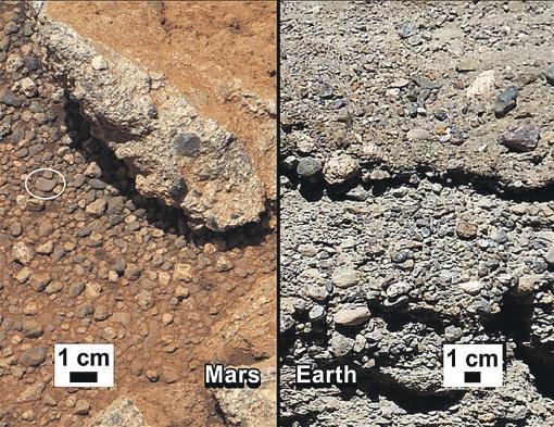 Идентичная галька на Марсе (слева) и Земле (справа) доказывает, что вода на Красной планете точно была. А где вода, там и жизнь.