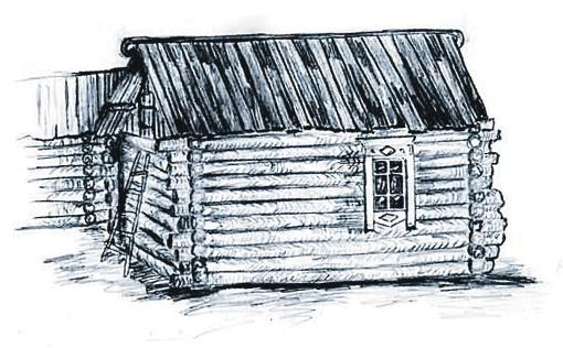 Жители села по памяти нарисовали избушку, в которой жил ссыльный Джугашвили. Фото: memorial.krsk.ru.