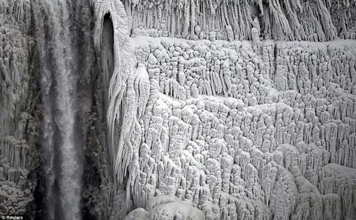 Водопад покрылся льдом. Фото: Рейтер