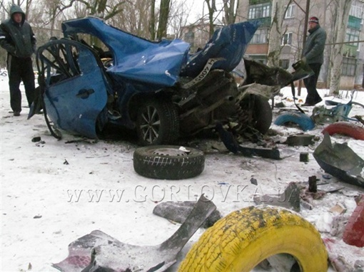 Авто полностью уничтожено. Фото: gorlovka.ua