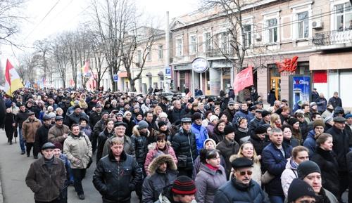 Люди вели себя мирно. Фото: Максим Войтенко