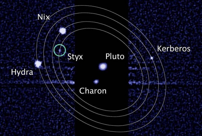 Плутон и его пять спутников. Снимок с телескопа Hubble