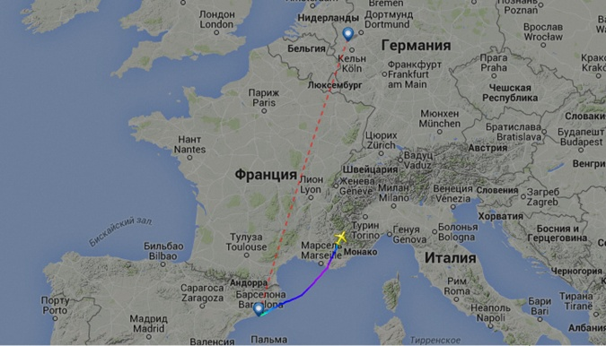 Карта следования самолета
