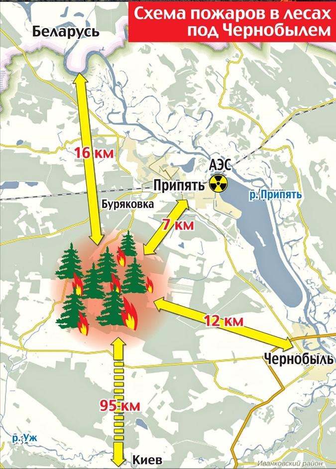 Схема пожаров в лесах под