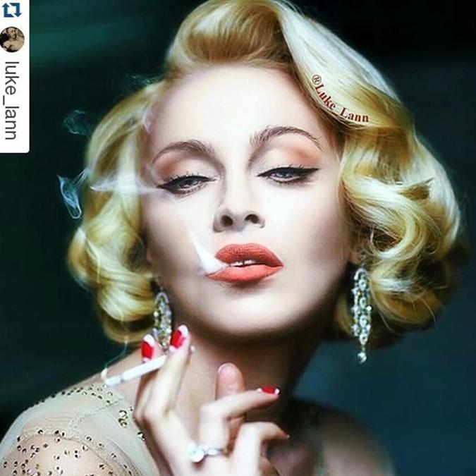 Лицо Мадонны, вставленное в снимок Оли Поляковой. Фото: Инстаграм