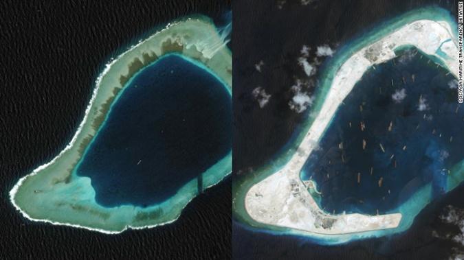 Спорные острова в 2008 и 2015 годах.