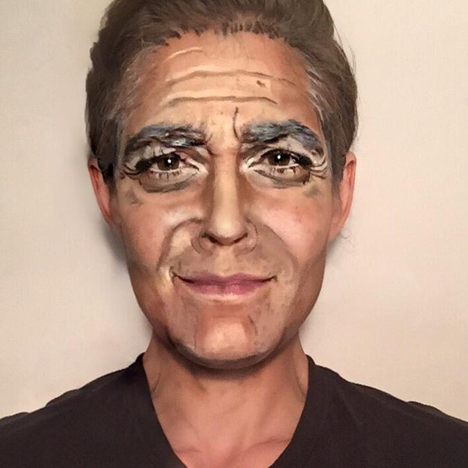 Ребекка в образе актера Джорджа Клуни.