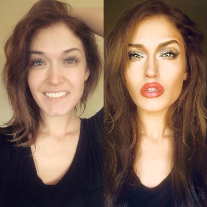 Ребекка до и после макияжа.
