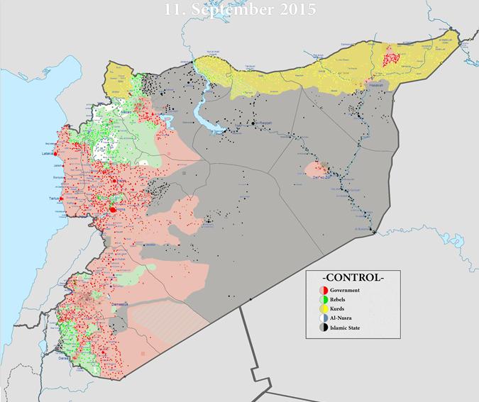 Карта от 11.09.2015, на которой отображен контроль территории Сирии различными группировками.