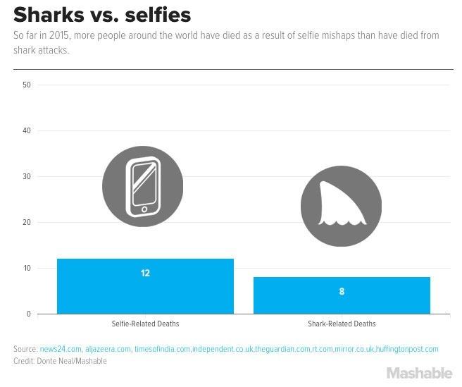 Количество смертей из-за селфи и нападения акул. Фото: DONTE NEAL, MASHABLE