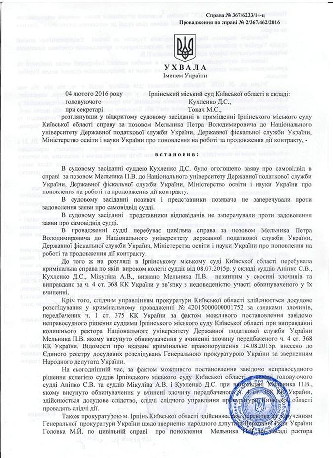 Решение судьи Кухленко.