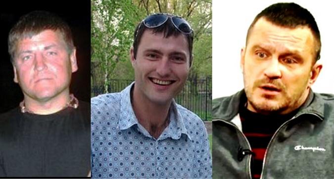 Обвиняемые в убийстве парня (слева направо): Юрий Москалев, Максим Сухомлинов, Вадим Погодин.