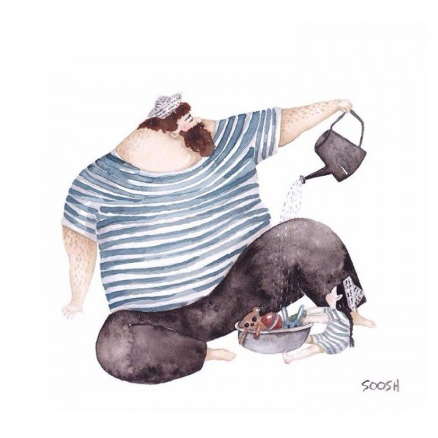 Снежана говорит, что рисовала эти картинки, чтобы помочь и своему сыну стать любящим отцом