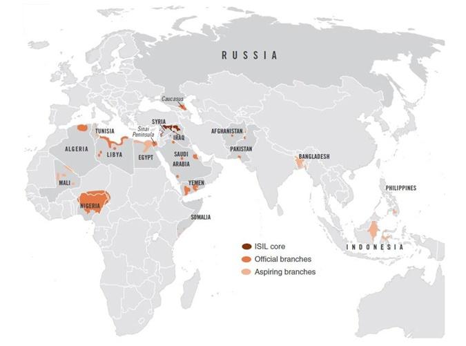 Бардовым цветом отмечено ядро ИГИЛ, оранжевым - официальные предствительства, розовым - потенциальные