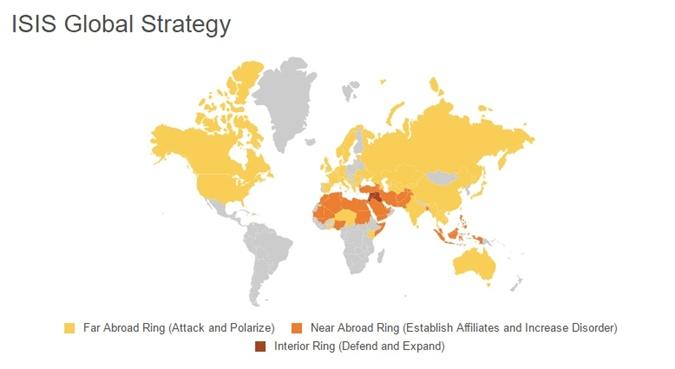 На карте видно, что сторонники ИГИЛ, в том числе совершившие одиночные атаки, есть почти во всем мире (отмечено желтым).