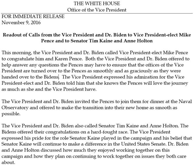 Байден поздравил Пенса сизбранием напост вице-президента США