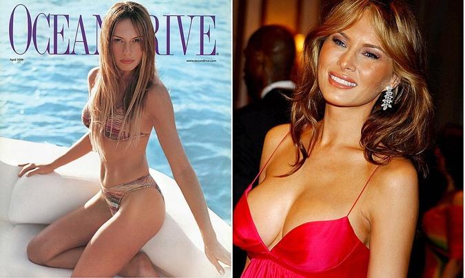 Слева: Мелания в 1999 году на обложке журнала. Тогда ее прелести были гораздо более скромного размера.