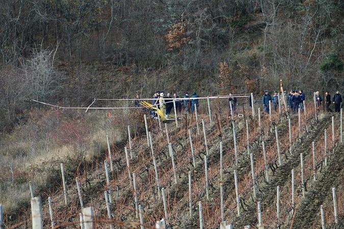 Крушение произошло в метре от виноградников.