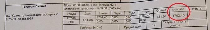 Платежки за ноябрь: 1760 гривен за тепло в двухкомнатной квартире фото 1