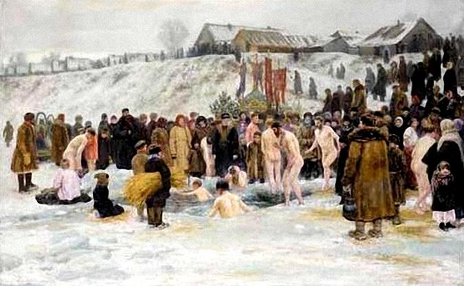 Николай Грандковский.Купание после освящения воды шестого января.1903