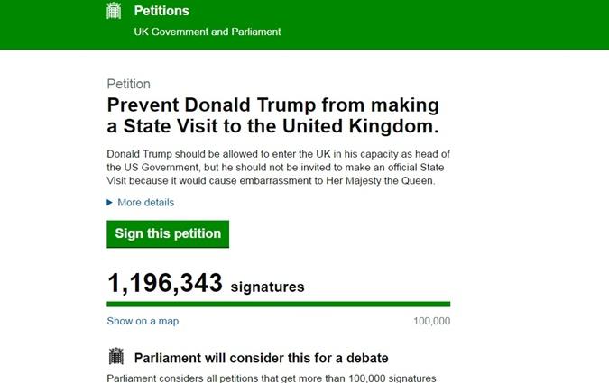 Петиция против визита Трампа в Англию набрала более 1 миллиона подписей фото 1