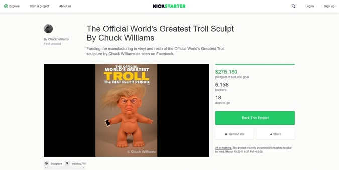 Трамп-тролль. Фото скрин с сайта kickstarter.com