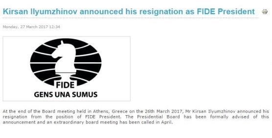 Сообщение об отставке так и не убрали с официального сайта ФИДЕ. Фото: скриншот