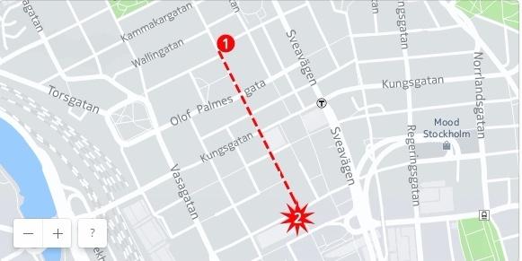 Путь террориста по пешеходной улице.