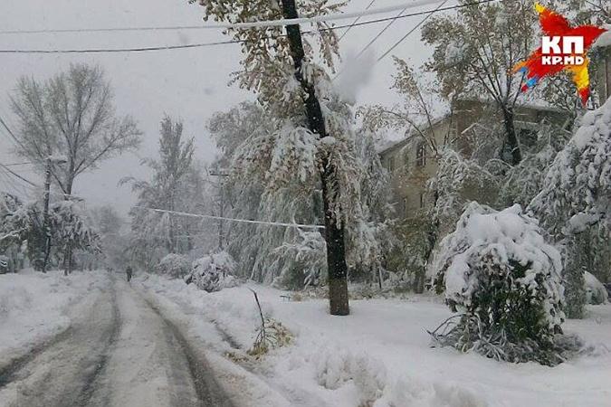 Снегопад в Кишиневе.