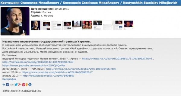 Стас Костюшкин попал в«черный список» украинского сайта «Миротворец»
