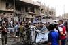 В торговом квартале Багдада одновременно взорвались два заминированных автомобиля