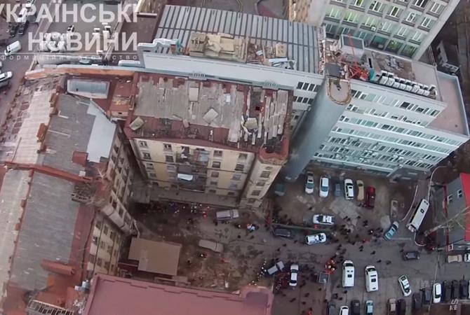 Из-под завалов дома вКиеве достали 6-го пострадавшего, под грудой фрагментов - труп