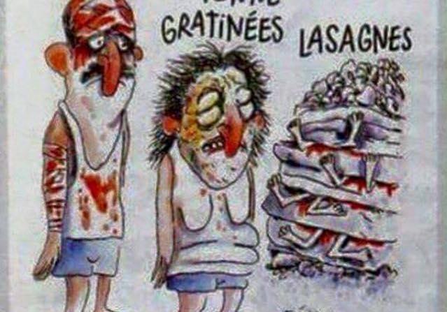 Charlie Hebdo изобразил жертв землетрясения вИталии ввиде лазаньи струпами