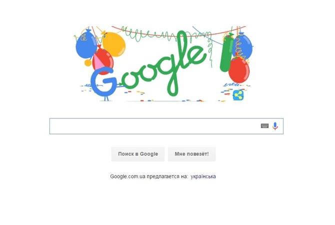 Google поздравил себя сднем рождения дудлом своздушными шариками