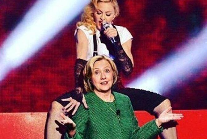 58-летняя Мадонна завлекает избирателей Клинтон голой грудью