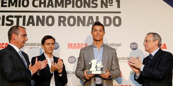 Криштиану Роналду назвали лучшим игроком минувшего сезона Лиги чемпионов Роналду с призом