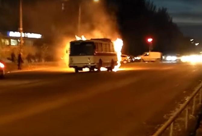 ВЗапорожье наБабурке зажегся автобус спассажирами