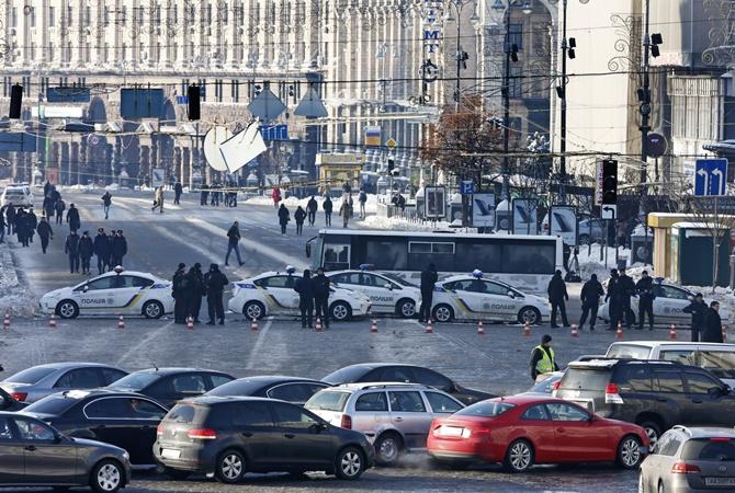Вцентре столицы Украины проходят два митинга