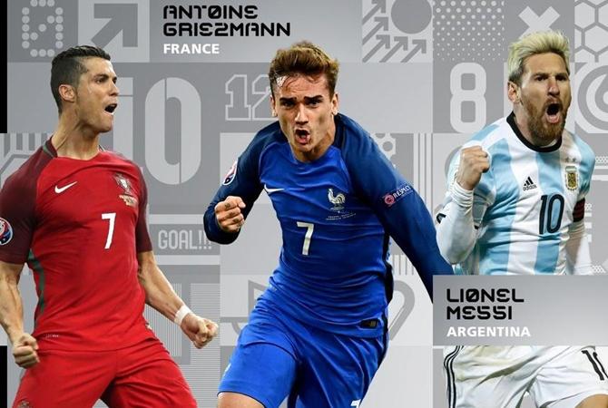 ФИФА назвала тройку претендентов натитул лучшего футболиста года