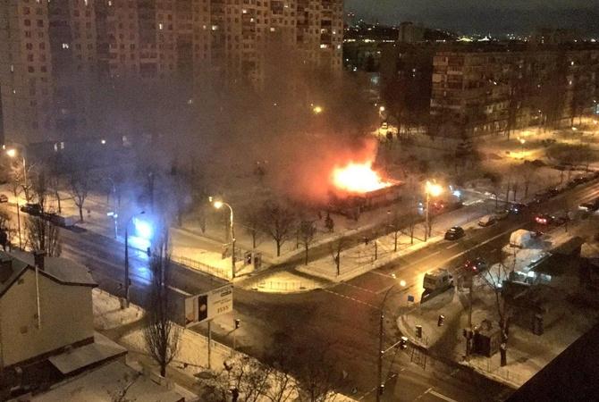 Cотрудники экстренных служб потушили пожар вкафе вКиеве