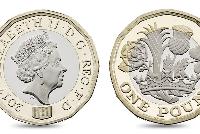 Новая однофунтовая монета поступит вобращение в Англии