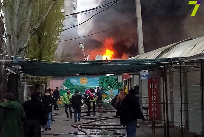 ГСЧС: В итоге пожара нарынке «Северный» вОдессе пострадали шесть человек