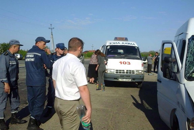 Натрассе под Мелитополем перевернулся автобус спассажирами